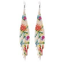 Vintage étnico Multi colores largos pendientes de borlas de gota para mujer pendientes de declaración de boda joyería de moda pendientes femeninos