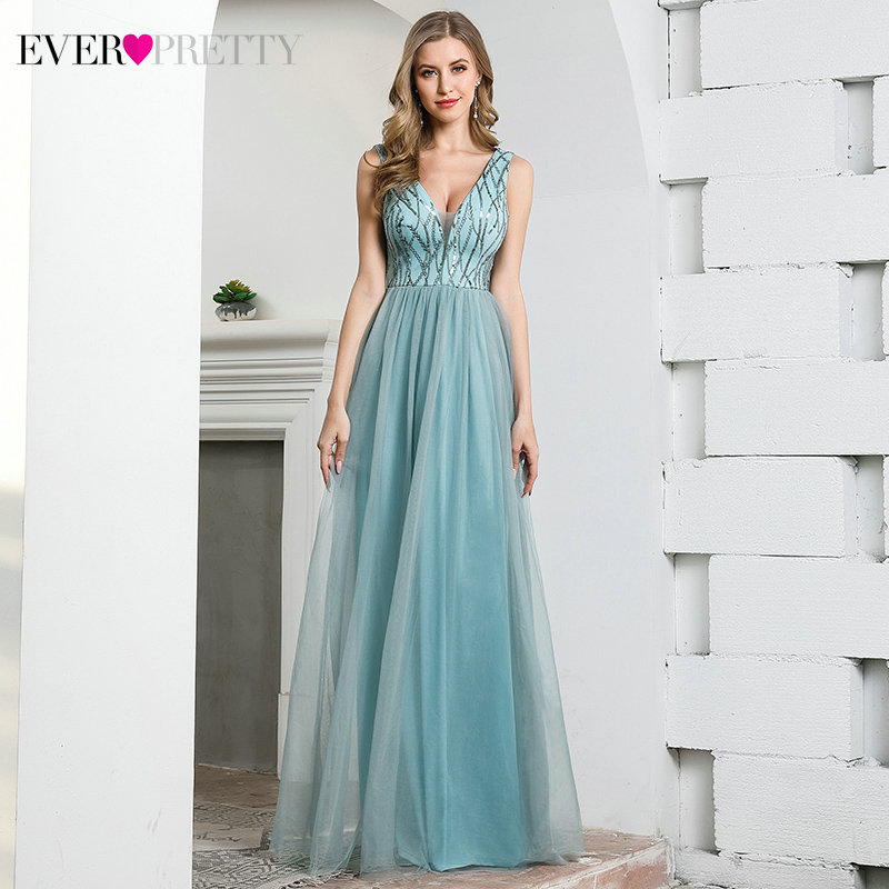 Sexy Blue Evening Dresses Long Ever Pretty Sequined Sleeveless Deep V-Neck Tulle Sparkle Formal Party Gowns Robe De Soiree 2020