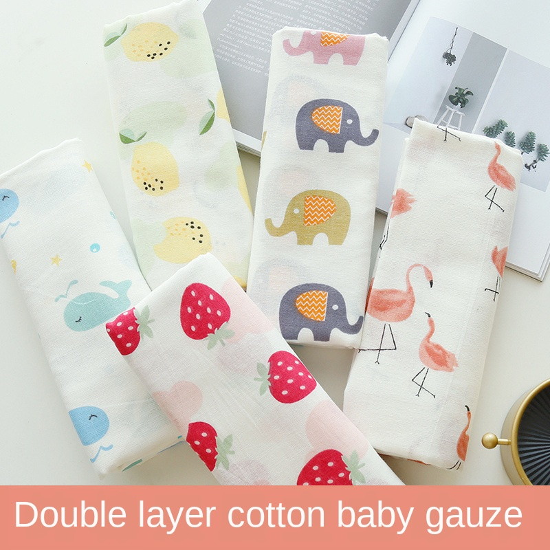 155cm*100cm Double Gauze Cloth Baby Cotton Fabric Home Diaper Baby Clothes Cartoon Bath Towel Cotton Fabric Pure Cotton Fabric