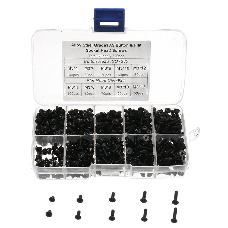 720pcs Alloy Steel M3 Button Flat Socket Head Screws Set Hex Socket Cap Screw Bolt for RC Repairing Soldering Part