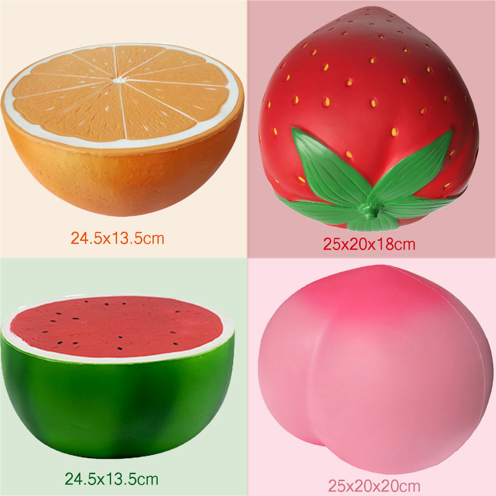 Besegad Large <font><b>Big</b></font> Jumbo <font><b>Fruit</b></font> <font><b>Squishies</b></font> Slow Rising PU Squeeze Toys Lemon Watermelon Strawberry Peach Shape for Relieves Stress image