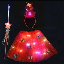 Costume Tutu-Skirt Fairy-Stick Wing Light-Up Christmas-Tree Led Glow Women Headband Halloween