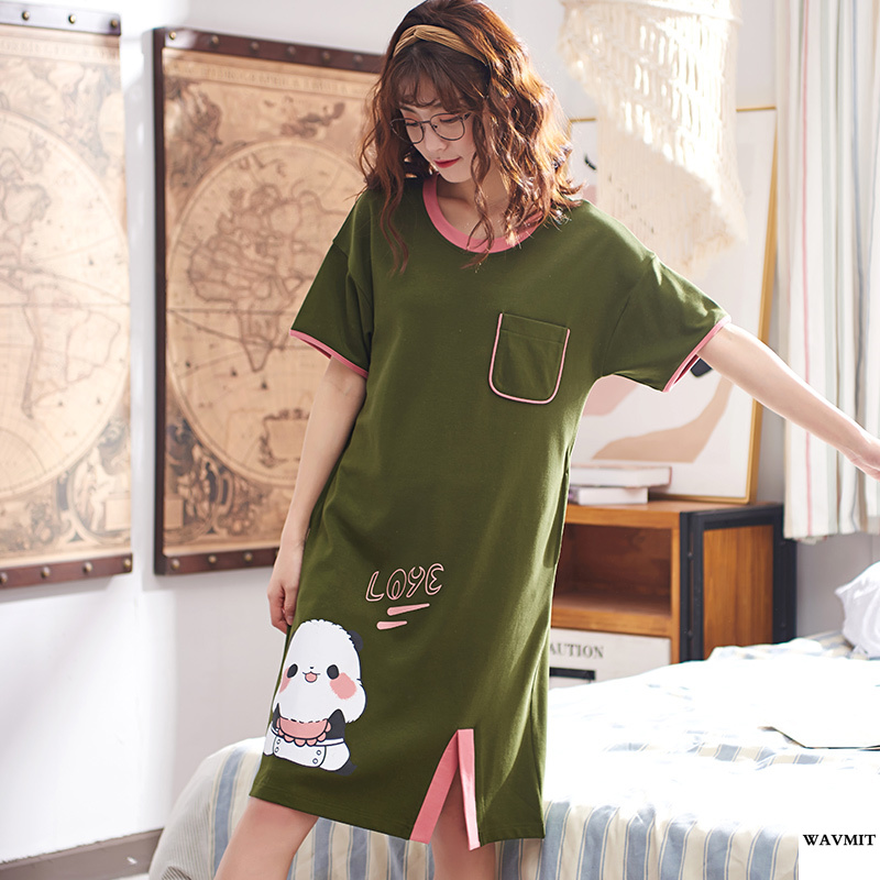 WAVMIT 2020 Summer Women's Short Cotton Sleepwear Home Nightshirt Women Causal Sleepwear Loose Ladies Nightgown Women Dress