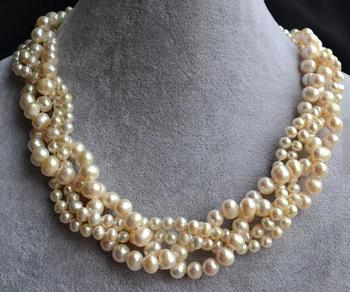 Unique Pearls jewellery Store White Pearl Necklace 18 inches 5-8mm Round Genuine Freshwater Pearl Necklace Fine Jewelry