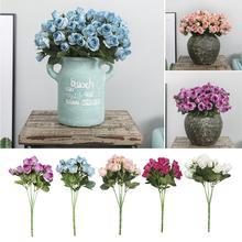1 шт., искусственные розы с 15 головками, искусственные цветы, сделай сам, для свадебной вечеринки, праздничные принадлежности, украшение для дома, офиса, без вазы