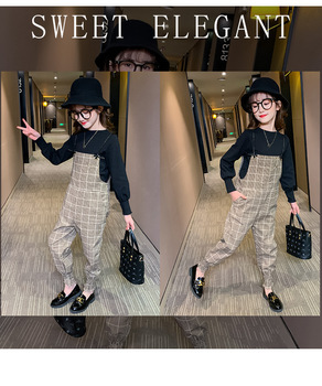 Clothes For Girls Sets Kids Plaid Overalls + Long Sleeve Top Two Piece Set Children Suit Summer Girls Outfits 8 10 12 14 Years