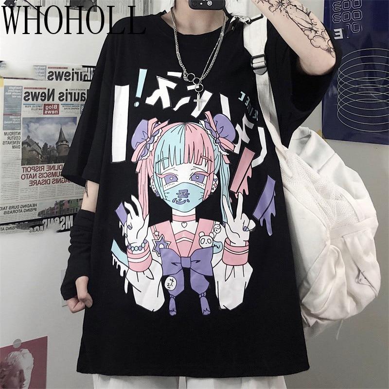Summer Goth Sexy Female Tee Aesthetic Loose Women T-shirt Punk Dark Grunge Streetwear Ladies Top Gothic Tshirts Harajuku Clothes(China)