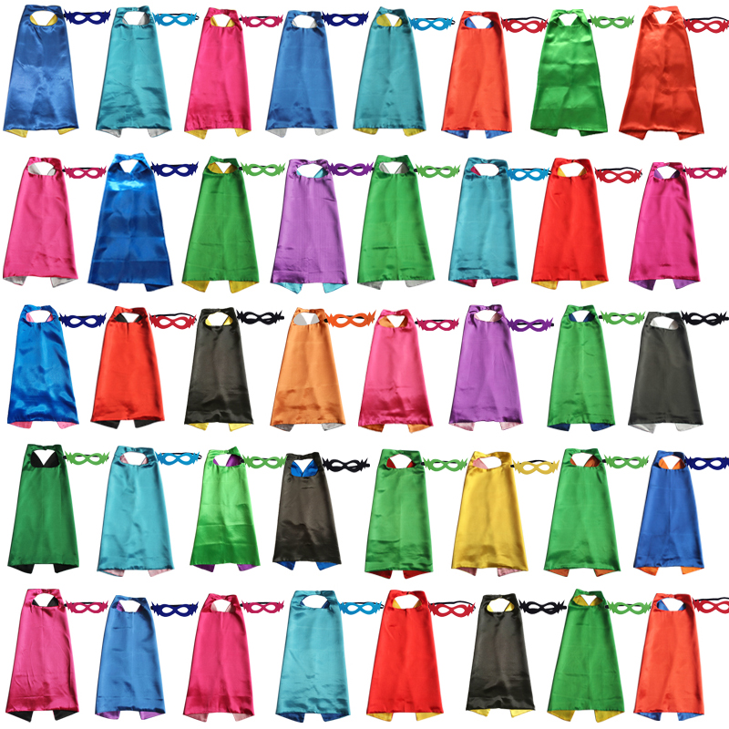 Kids Superhero Capes With Felt Mask Plain Satin Solid Capes Boys Girls Birthday Party Favor Anime Cosplay