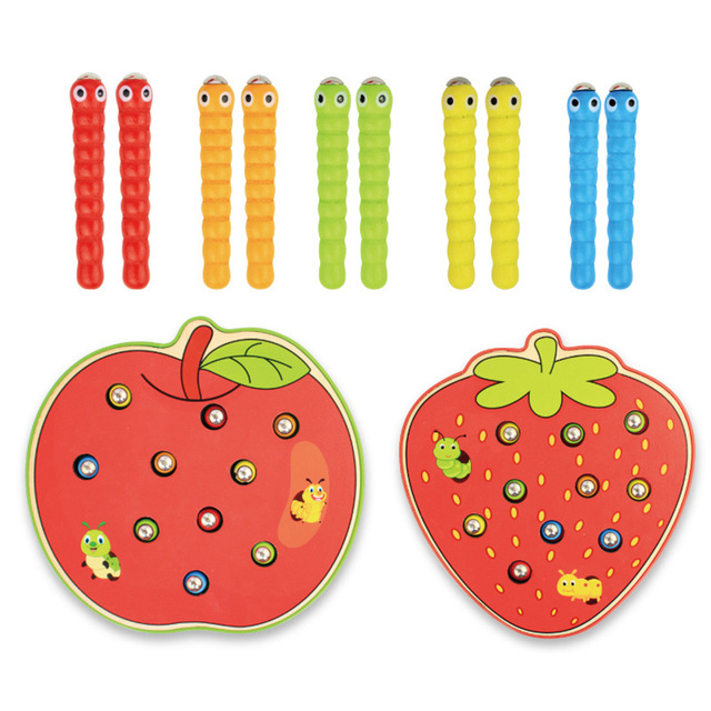 Baby Wooden Toys Montessori Early Learning Toys Children Educational Toys Catch Worm Game Color Cognitive Strawberry Apple Grasp