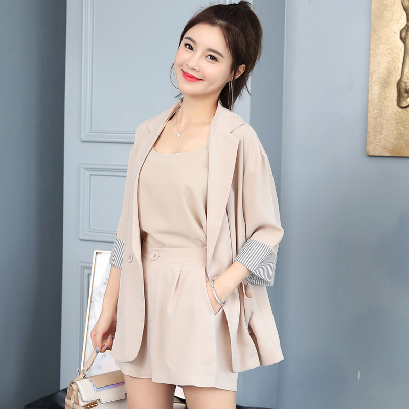 2020 Spring Summer Women's Three Piece Set Casual Blazer Tank Tops And Shorts Elegant Office Ladies Suit Work Wear 3 Colors