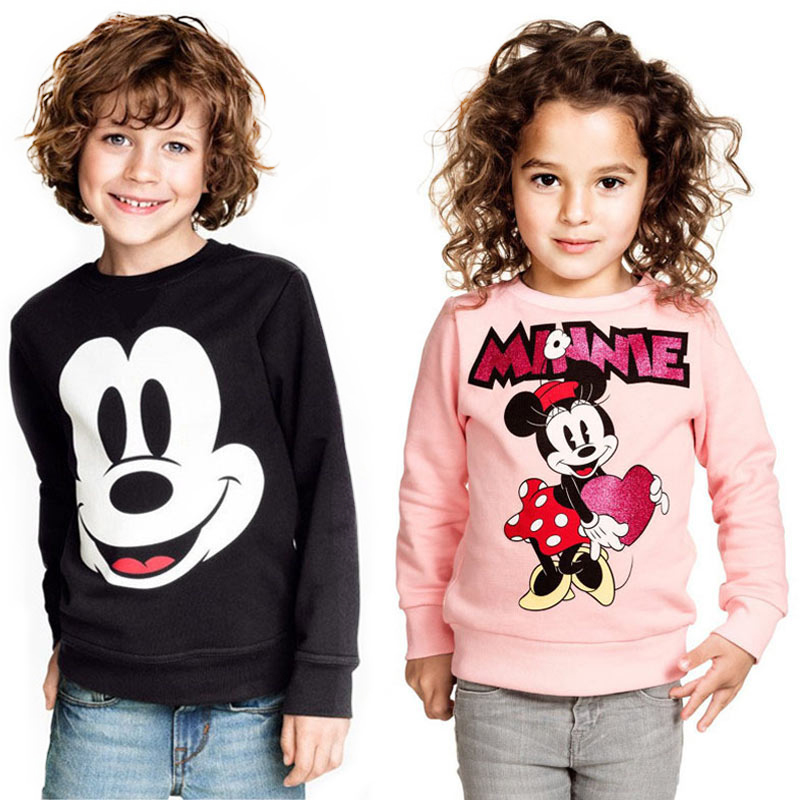 Spring Autumn New Boys Girls Mickey Tshirt Long Sleeve Cartoon T Shirts For Kids Minnie Casual Clothing Children Sweatshirt Top