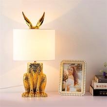 Modern Led Table Lamp Rabbit Resin Light Retro Industrial Desk Bedroom Study Lights Baby Night Bedside