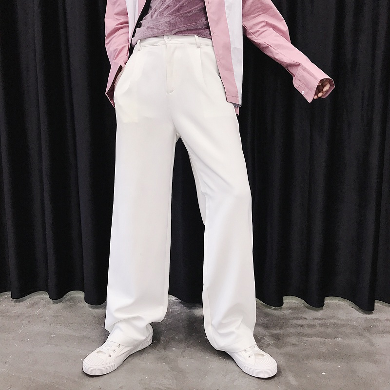 Men Business Casual Straight Suit Pant Male Women Streetwear Hip Hop Vintage Fashion Trousers Black Pink White
