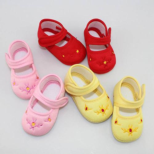 Spring Autumn Lovely Newborn Baby Boy's Girl's Floral Embroidery Anti-Slip Sneaker Crib Soft Shoes Cotton First Walkers Shoes
