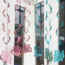 Вихревой спиральный орнамент висячие украшения Розовый Синий его мальчик девочка ребенок Душ пол раскрывает День рождения украшение потол...