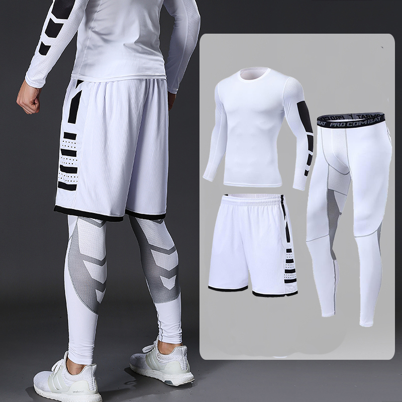 Dry Fit Men's Training Sportswear Set Gym Fitness Compression Sport Suit Jogging Tight Sports Wear Clothes 4XL5XL Oversized Male 6