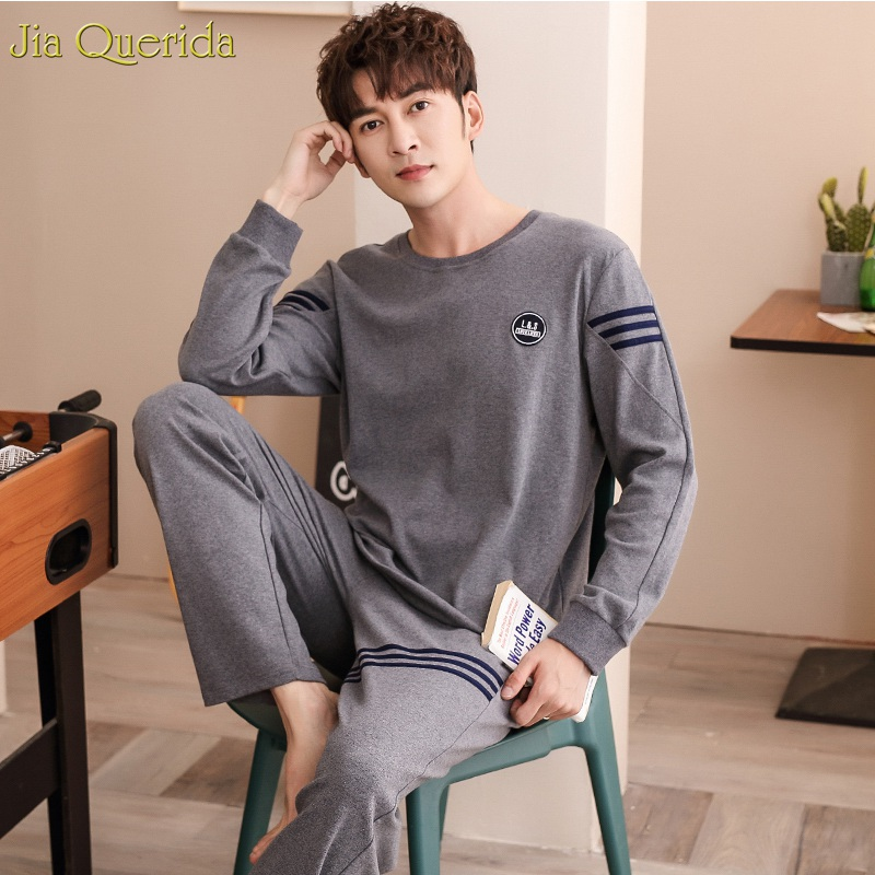New Pajamas For Men Fashion Dark Gray Shirt Long Sleeves Autumn Winter O-Neck 100% Cotton Elastic Waist Leisure Mens Pyjama Set
