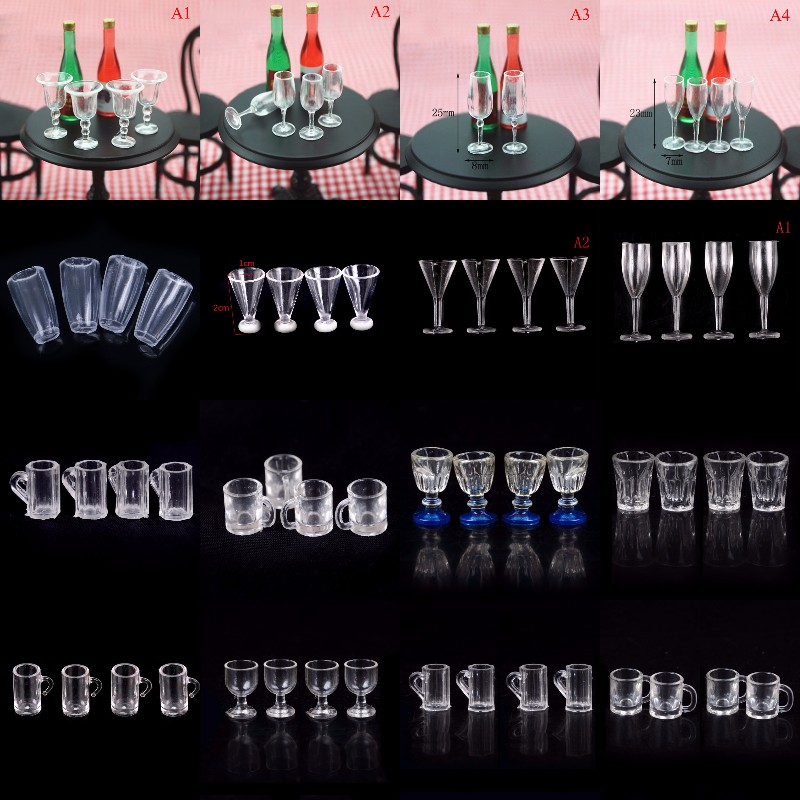 4Pcs 1/12 Mini Resin Transparent Cup Simulation Furniture Model Toys For Decoration Dollhouse Miniature Accessories 20Styles
