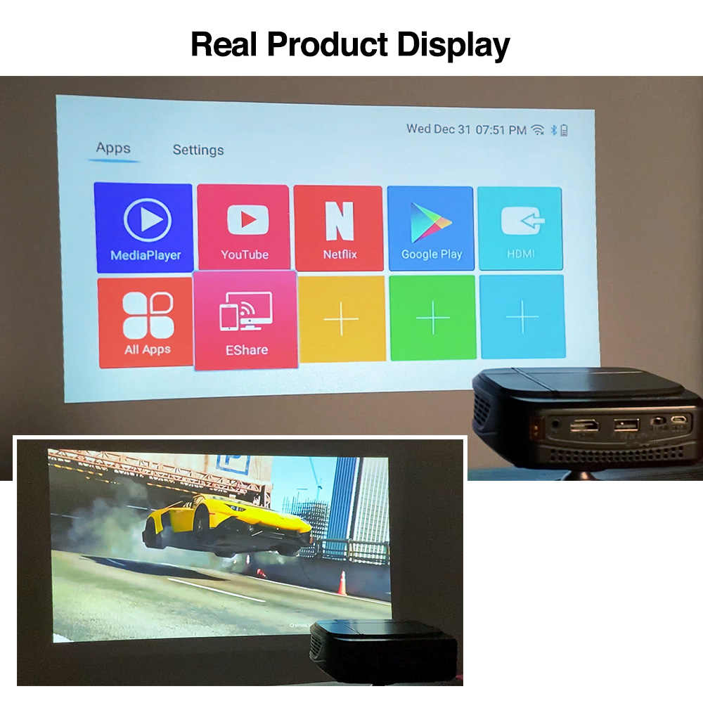 Mini 4K telefon projektörü Caiwei H6AB Android 7.1 çift WIFI Bluetooth 4.0 cep projektör Full HD DLP ev için taşınabilir tiyatro