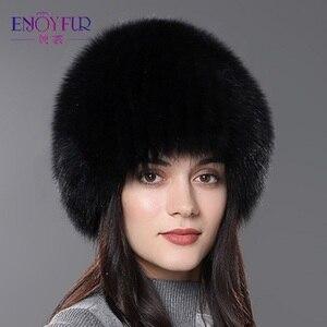 Image 2 - ENJOYFUR women winter fur hat genuine fox fur hats knitted silver fox fur caps female russian bomer caps