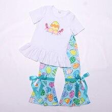 Пасхальная Одежда для девочек, футболка с круглым вырезом и рукавами, штаны с рисунком яиц и оборками, красивый наряд для девочек, одежда из 2 предметов