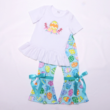 Easter Girls Clothes O Neck Sleeve T Shirt Eggs Prints Ruffle Pants Sweet Girl Outfits 2pcs Clothing