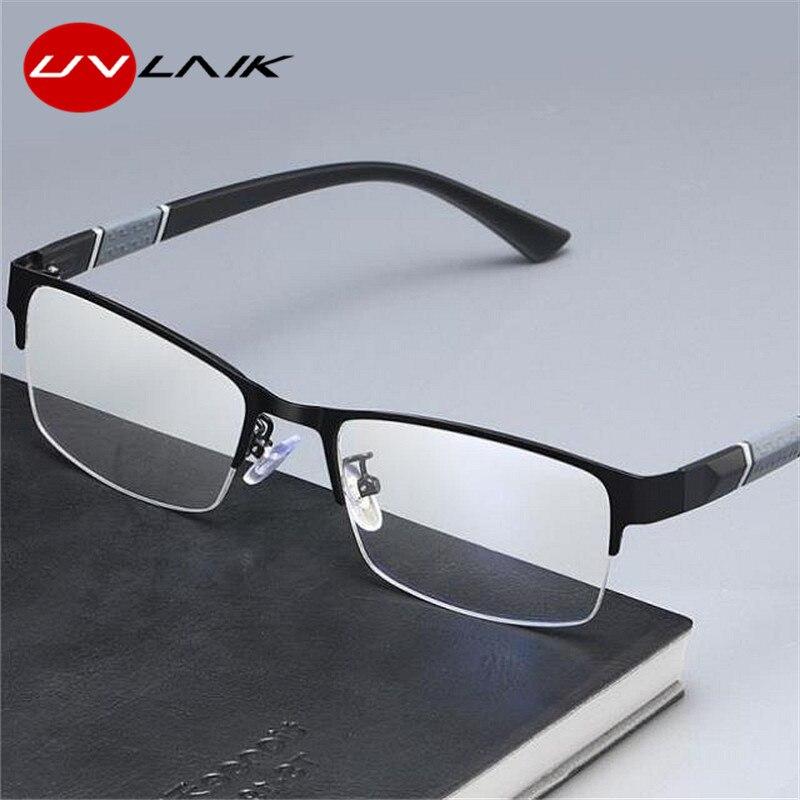 UVLAIK Anti Blue Light Finished Myopia Glasses Frames Men Women Metal Half Frame Business Eyeglasses Short Sight Diopter