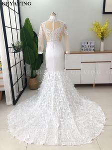 Image 3 - אלגנטי גבוה צוואר ארוך שרוולי בת ים לבן שמלות נשף 2019 אשליה תחרה Applique 3D פרחוני שחור ילדה ארוך סיום שמלה