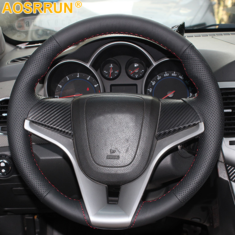 AOSRRUN Car accessories Sew genuine leather Car steering wheel cover For Chevrolet Cruze hatchback sedan 2009 2013 2014|cover for|cover covers|covers for steering wheels - title=