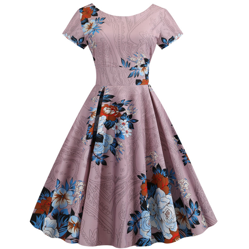 Summer Floral Print Elegant A-line Party Dress Women Slim White Short Sleeve Swing Pin up Vintage Dresses Plus Size Robe Femme 233