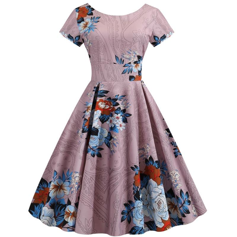 Summer Floral Print Elegant A-line Party Dress Women Slim White Short Sleeve Swing Pin up Vintage Dresses Plus Size Robe Femme 87