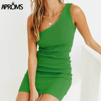 Aproms One Shoulder Ribbed Knitted Summer Dress Women Sexy Sleeveless Bodycon Mini Dresses Club Party Sundresses Vestidos 2020 2