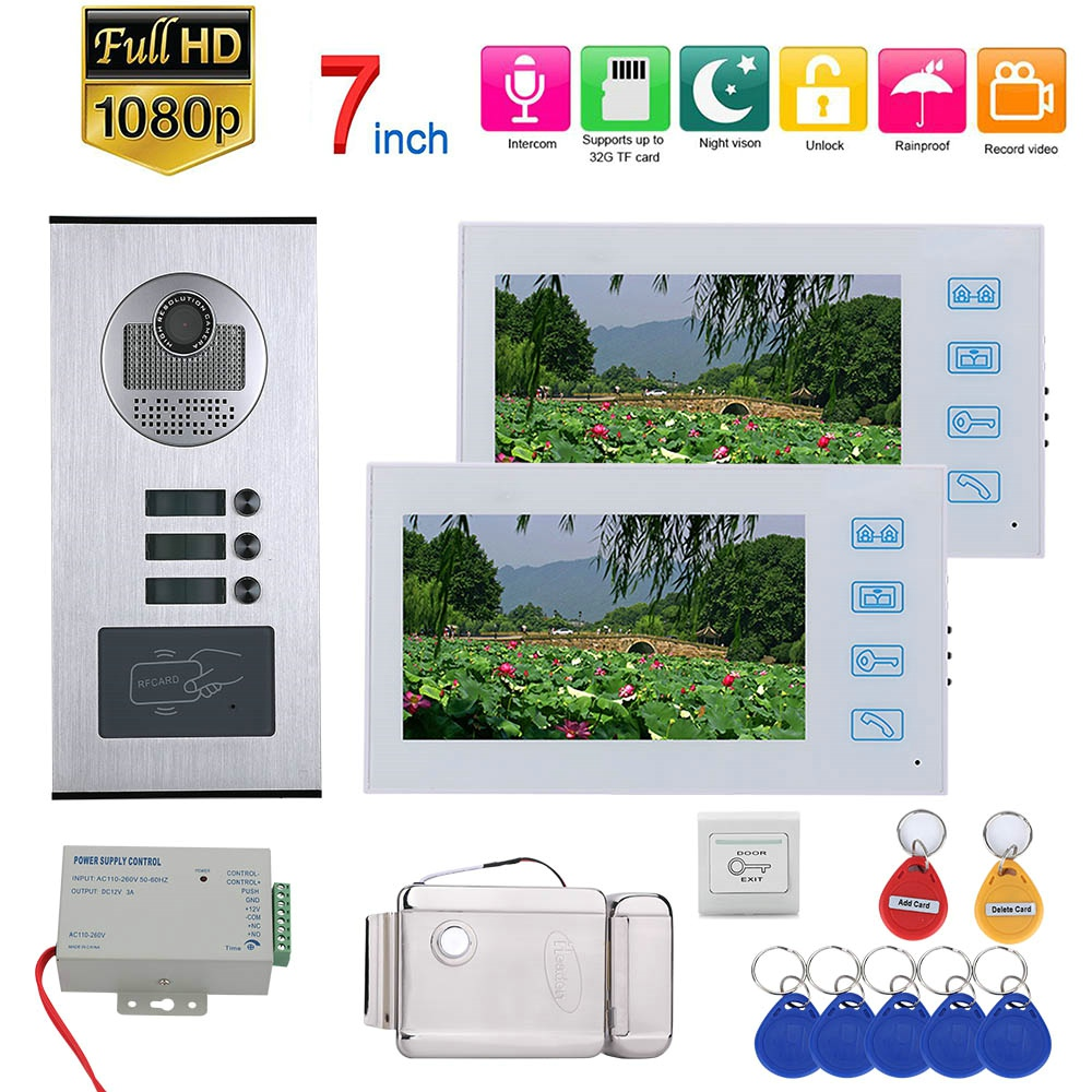 7inch Color LCD Record Video Intercom 2 Apartments Video Door Phone System With RFID 1080P Doorbell  Camera+Electric Door Lock