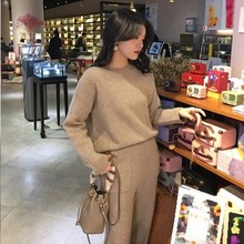 цена на Knitting Female Sweater Pantsuit Women Two Piece Set O-Neck Knitted Pullover V-Neck Long Sleeve Top Wide Leg Pants Suit