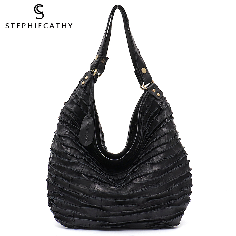 SC Real Sheep Skin Leather Stripe Hobo Bag For Women Large Capacity Genuine Leather Patchwork Shoulder Tote Casual Crossbody Bag