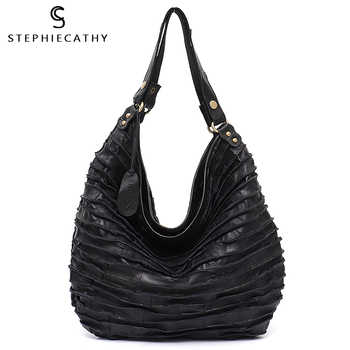 SC Real Sheep Skin Leather Stripe Hobo Bag for Women Large Capacity Genuine Leather Patchwork Shoulder Tote Casual Crossbody Bag - DISCOUNT ITEM  40% OFF All Category
