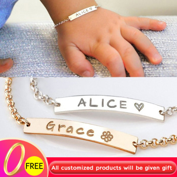 Custom Name Bracelet Personalized Toddler Child ID BFF Stainless Steel Engraved Baby Jewelry Pulseras Armband