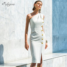 Ailigou2019 Autumn New Women's Bandage Dress Celebrity Party Sexy Bodycon One-Shoulder Button Split White Dress Vestidos(China)