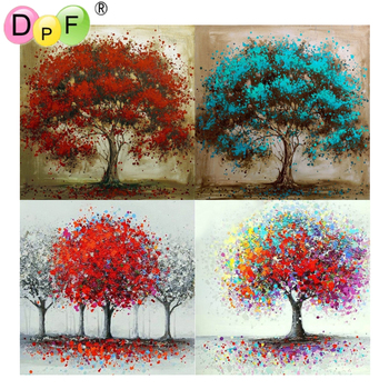 5D diy color tree round/square Diamond Painting Cross Stitch Diamond Embroidery kits Diamond Mosaic home Decorative drill image