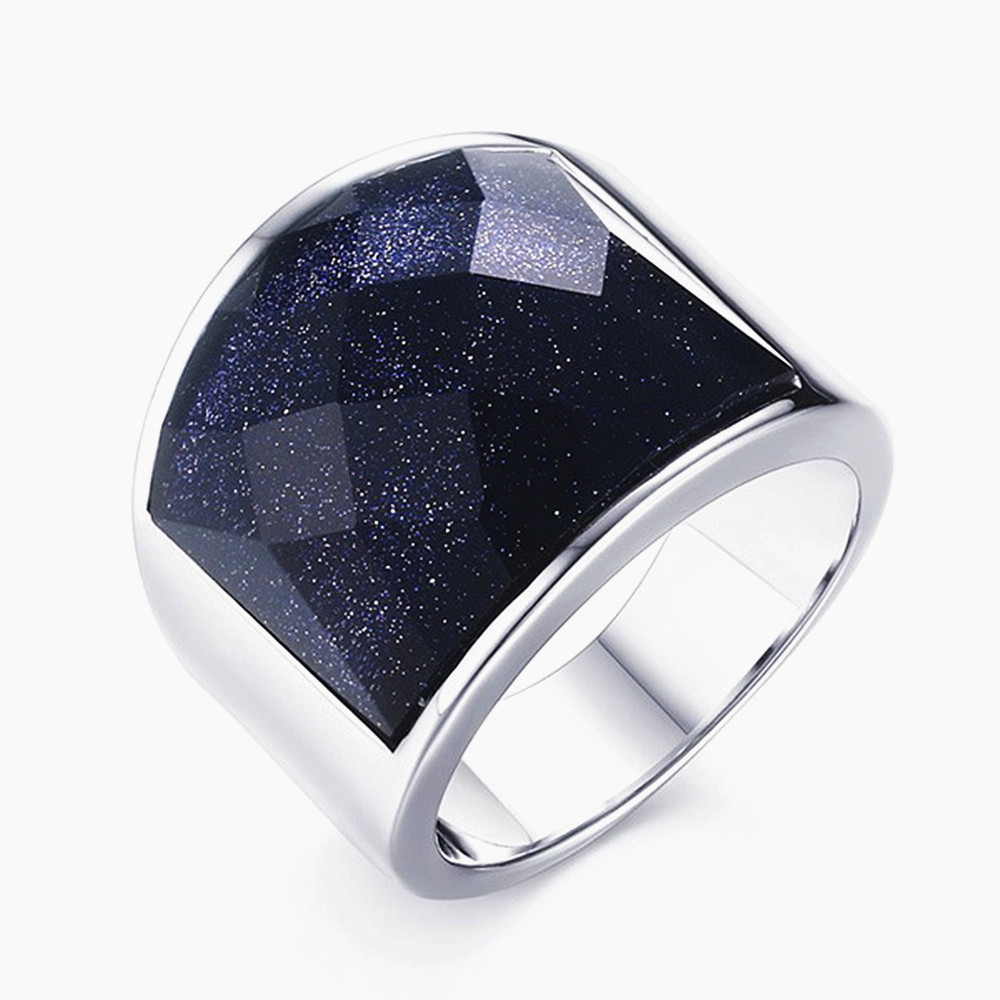 Big square Agate black purple Gemstones Rings for men white gold silver color titanium stainless steel cool party gift sizes8-12