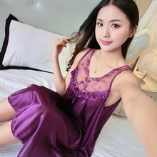 Sexy Sleeveless Lace Women's Nighgown Sleepwear Slips Strap Nightdress V Neck Chemise Lace Lingerie Underwear Pijama Mujer 2020