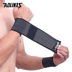 AOLIKES 1 шт. хлопок эластичный бинт ручной тренажерный спортивный браслет поддержка запястья бандаж обертывание карпальный туннель