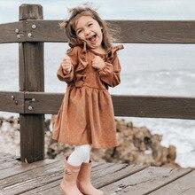 Autumn Winter Toddler Girl Dress Long Sleeve Cotton Ruffles