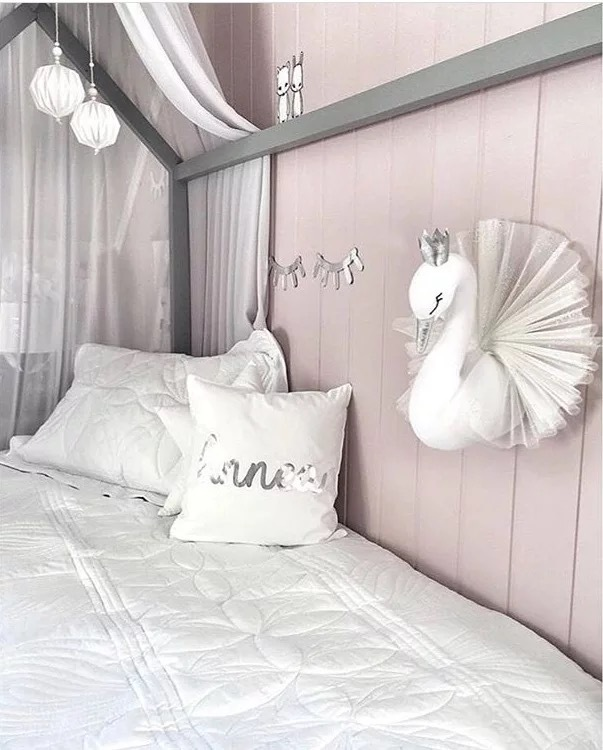Baby Girl Room Decor 3D Plush Animal Heads Swan Wall Hanging Decoration Stuffed Toy For Child Bedroom Nursery Soft Install Decor