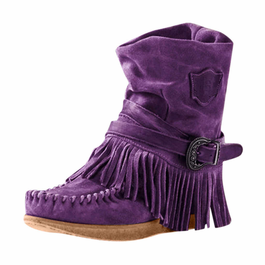 Ladies Women/'s Casual Round Toe Rome Tassel Fringe Short Ankle Boots Flat Shoes