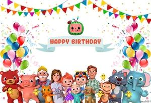 Image 2 - Sxy1661 خلفيات للتصوير الفوتوغرافي Cocomelon الأسرة تخصيص الأطفال حفلة عيد ميلاد ديكور صور خلفية استوديو الصور راية
