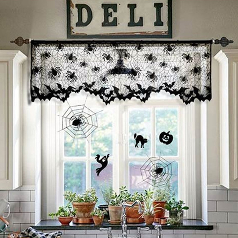 Halloween Lace Lamp Shade Home Topper Fireplace Curtain Decorations Party Supply
