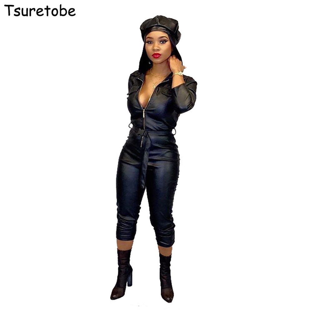 Tsuretobe Autumn Skinny Jumpsuit Women Leather Sexy Bandage Romper Zipper Long Sleeve Party Overalls With Belt Outfits Female