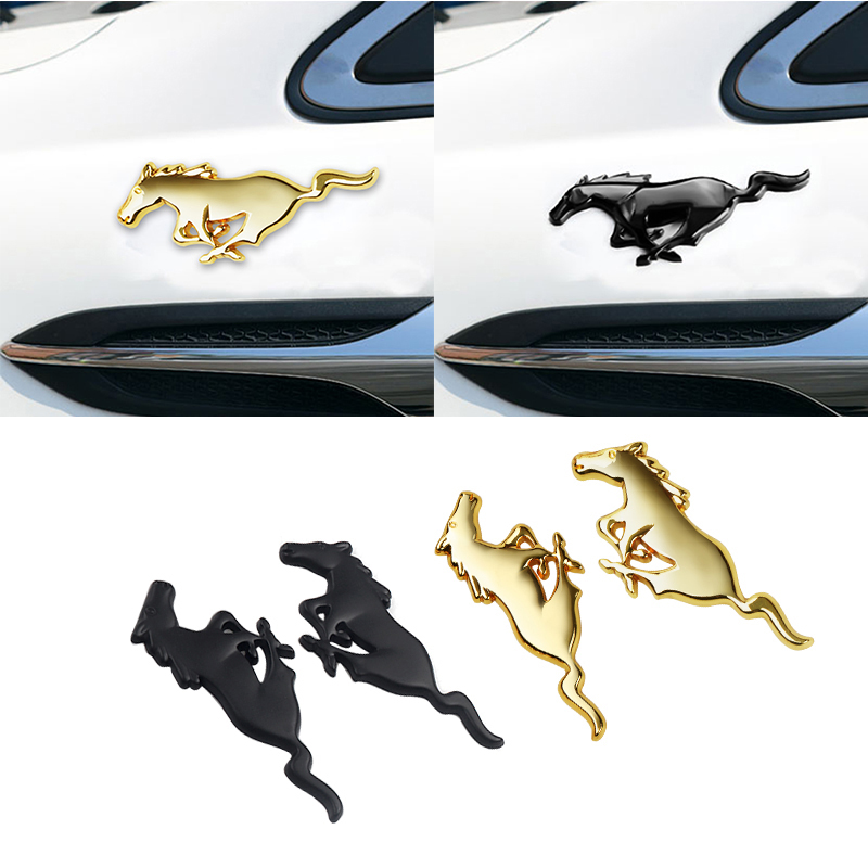 3D Car Styling Chrome Metal Running Horse Emblem Sticker Car Trunk Decoration For Ford Mustang Shelby GT Car Accessories