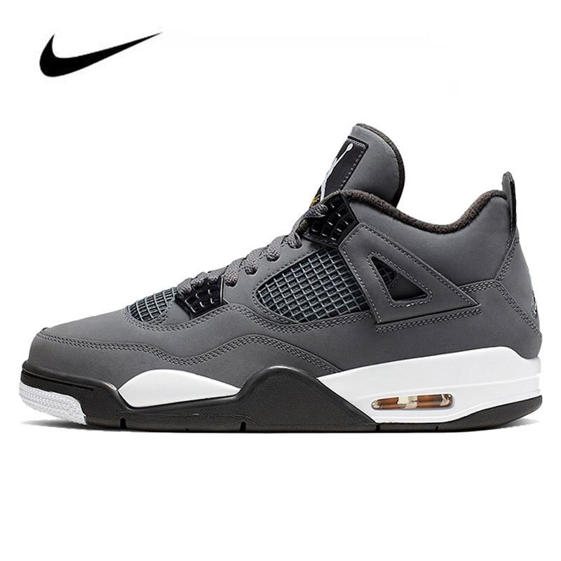 Nike Air Jordan 4 Cool Grey 2019 Men's Basketball Shoes Original High Top Jordan Sneakers Basketball Shoes Men Unisex Women